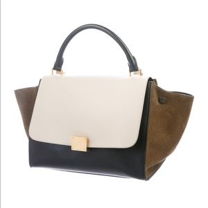 Black leather Céline Small Trapeze bag